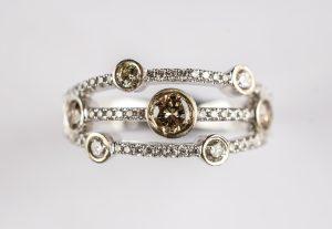 White gold, diamond and smoked diamond ring.