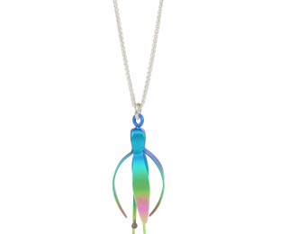 fuchsia flower rainbow pendant