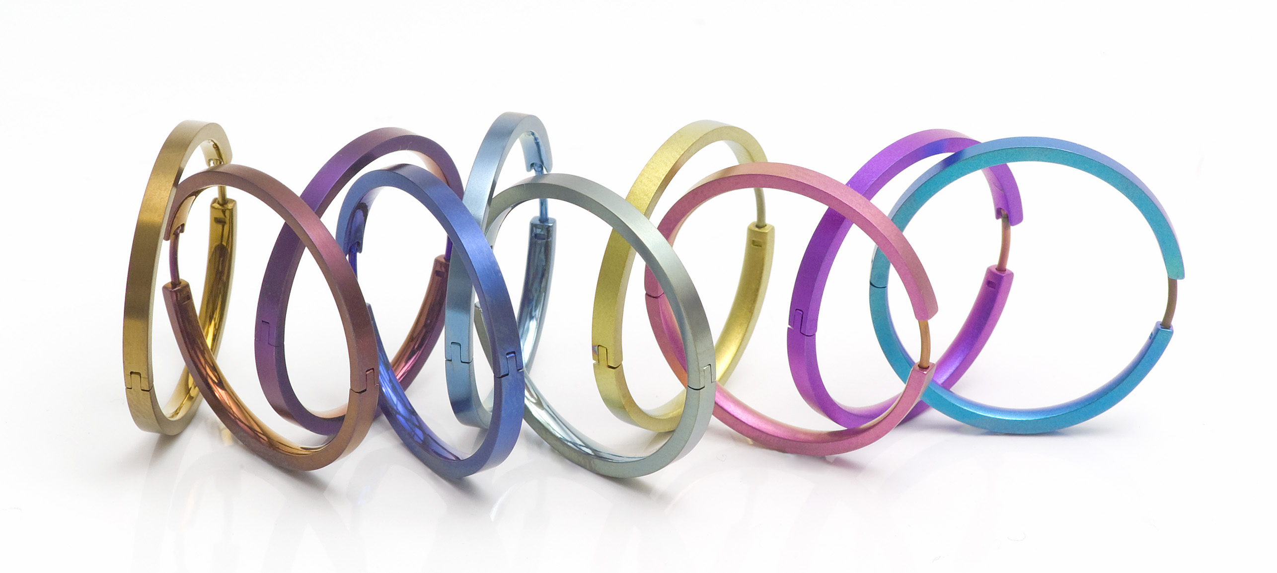 Magenta flat hoop earrings