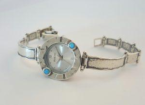 Sterling silver opal watch