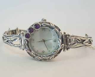 Sterling silver amethyst watch leaf pattern