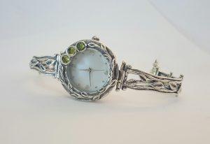 sterling silver peridot watch leaf pattern