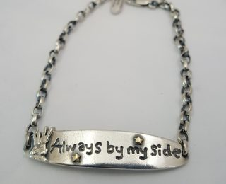 Always by my side bracelet by Nick Hubbard in sterling silver and 9ct gold.