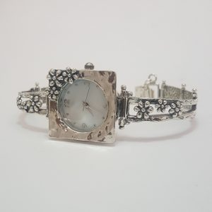 Square Silver Flower Watch