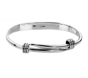 Sterling silver bangle with expandable feature